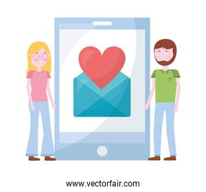couple with smartphone and set icons