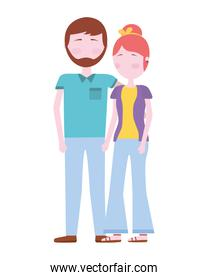 isolated youth  smiling couple vector design illustration