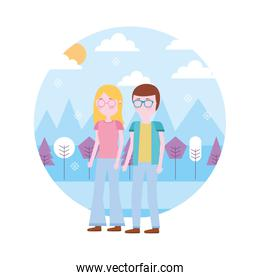 couple standing together in the outdoors