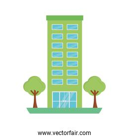 building structure with trees plants isolated icon