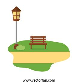 chair park with lamp isolated icon