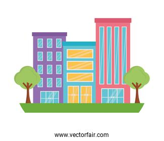 buildings structure with trees plants isolated icon
