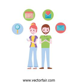 young couple with set icons avatar character