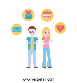 couple with set icons avatar character