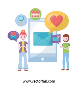 young couple with smartphone and set icons
