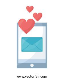 smartphone with envelope mail and hearts isolated icon