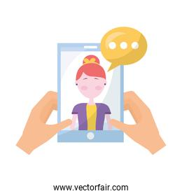 hands with smartphone woman speech bubble communication