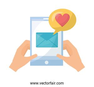 hands with smartphone email message love