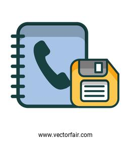 phonebook and floppy isolated icon
