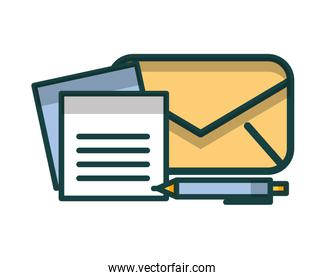 envelope mail with document and pen