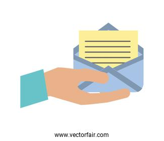 hand with envelope mail