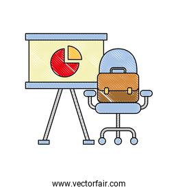 office presentation board chair and briefcase