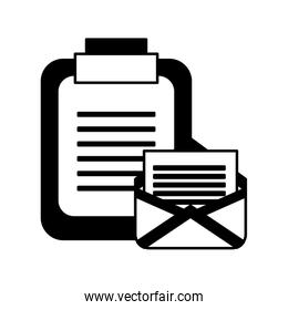 envelope mail with clipboard