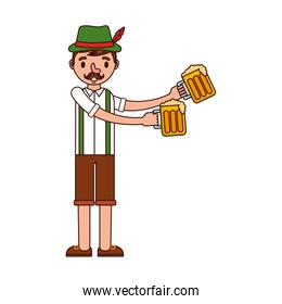 german man with typical costume and beers over white