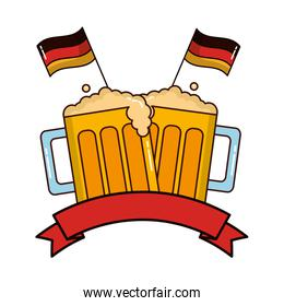 beer jars beverage with ribbon and flags of germany