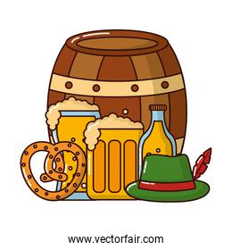 barrel beer with oktoberfest icons