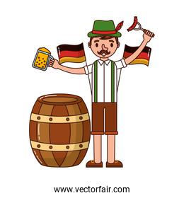 german man with beers and sausage