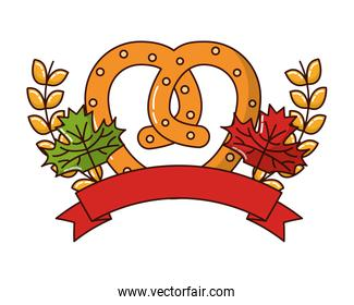 delicious pretzel with ribbon and crown