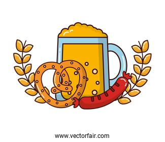 beer jar beverage with pretzel and sausage in crown over white