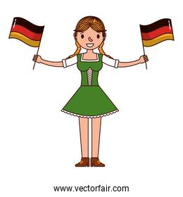 german woman with flags germany isolated icon