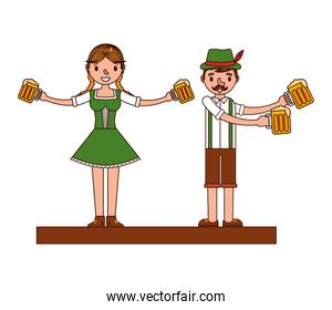 german couple with typical costume and beers characters