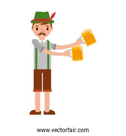 german man with typical costume and beers