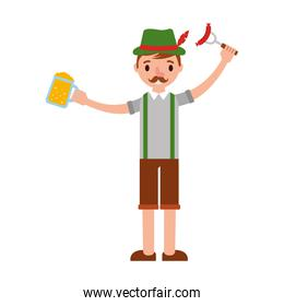 german man with beer and sausage character