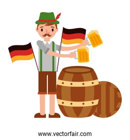 german man with beers and flag