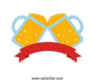 beer jars beverage with ribbon isolated icon