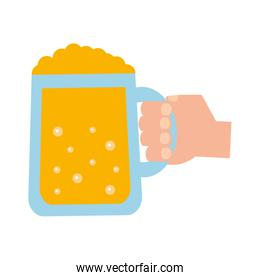 hand with beer jar beverage icon