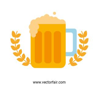 beer jar beverage with crown isolated icon