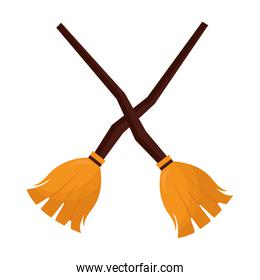 halloween brooms witch crossed isolated icon