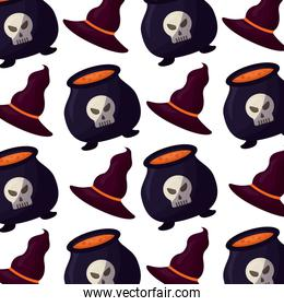 halloween cauldron with hat witch pattern
