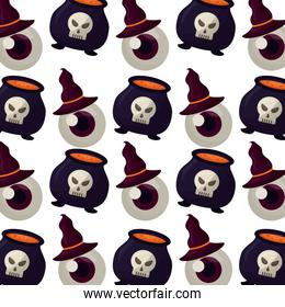 halloween cauldron with eye and hat witch pattern