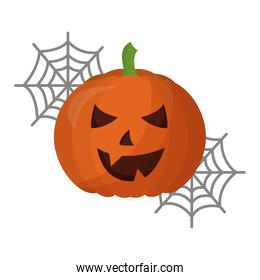 halloween pumpkin with spider web isolated icon
