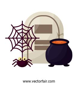 halloween cauldron with tomb and spider