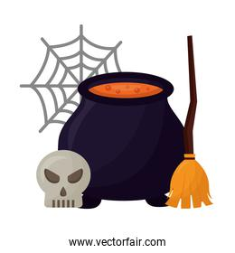halloween cauldron with broom witch and skull