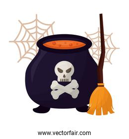 halloween cauldron with skull and broom witch
