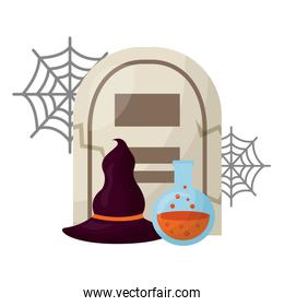 halloween tomb with poison and witch hat