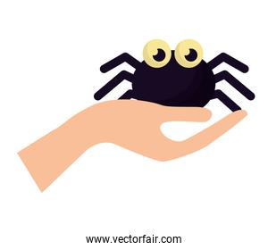 hand with halloween spider isolated icon