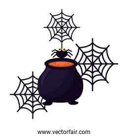 halloween cauldron with spider isolated icon