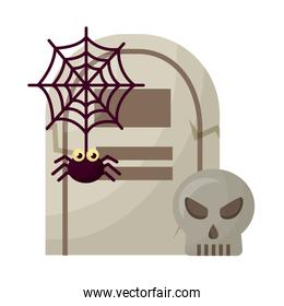 halloween tomb with skull and spider