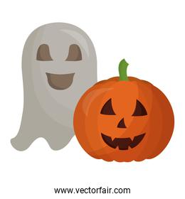halloween pumpkin with ghost isolated icon