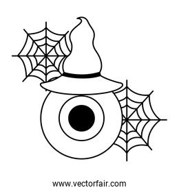 halloween eye with hat witch isolated icon