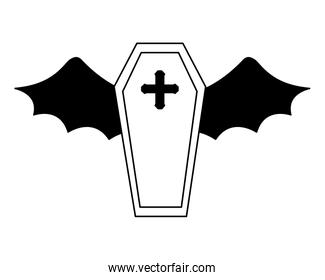 halloween coffin with bat wings isolated icon