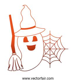 halloween ghost with broom and hat witch