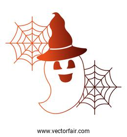 halloween ghost with hat witch isolated icon