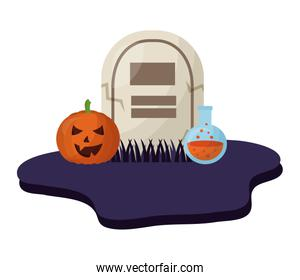 halloween tomb with pumpkin and poison isolated icon