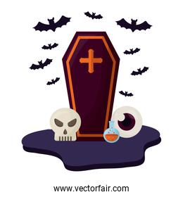 halloween coffin with set icons