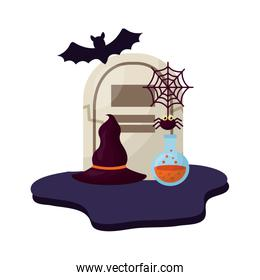 halloween tomb with hat of witch and set icons